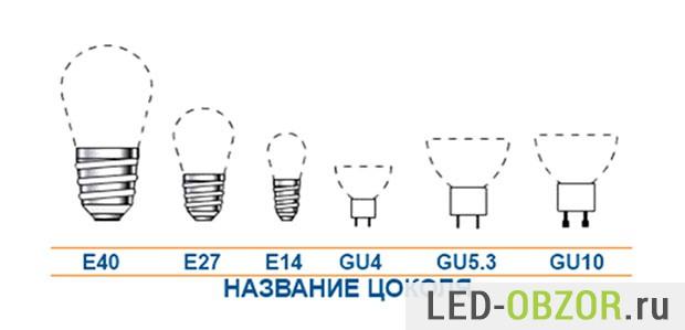 Цоколи светодиодных ламп для дома