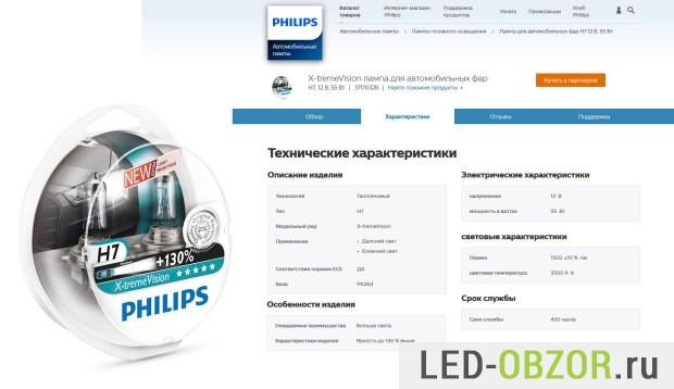 Реальные характеристики Philips X-treme Vision 130 H7 с cайта Philips
