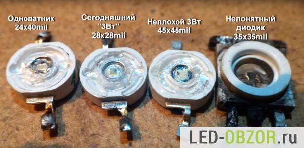 Примеры на 1W и 3W в корпусе эмиттер