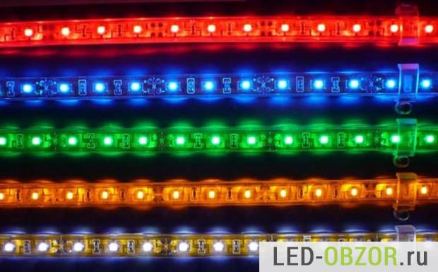 Цветная RGB, резистор стоит на каждые светодиод или на каждые два.