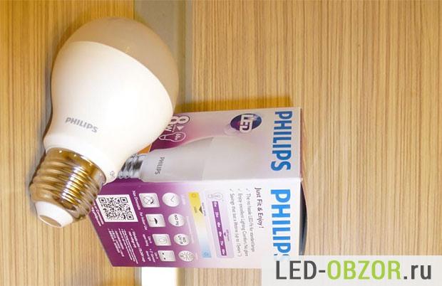 ЛЕД лампа Филипс и Технические характеристики на упаковке
