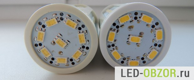 На торце обеих ламп 8 светодиодов