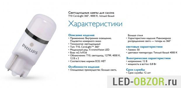Характеристики LED лампочек Philips для передних габаритных огней