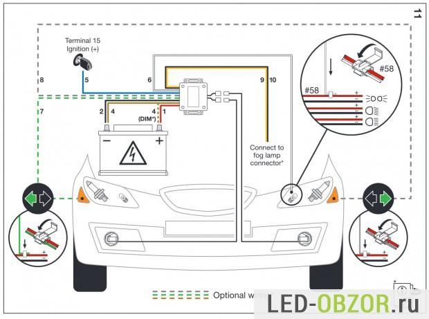 Схема подключения  к автомобилю
