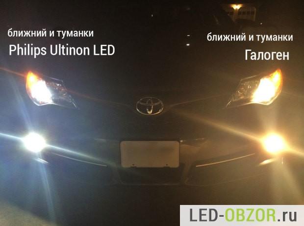 Слева авто светодиоды, справа только галогенки