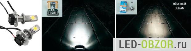 Дистанция освещения в 2 разам меньше чем у галогена, свет идет вниз