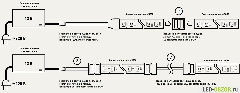 последовательное соединение светодиодной ленты схема