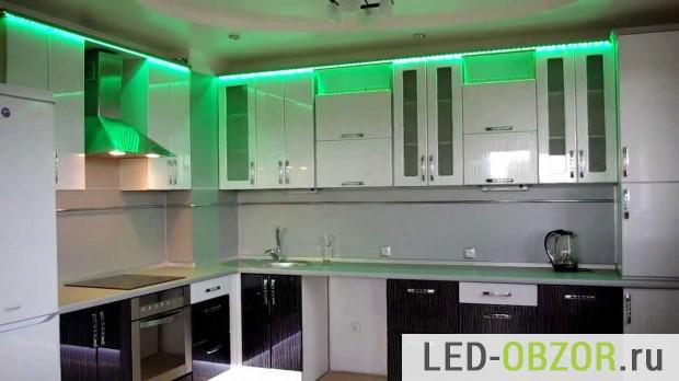 Как сделать подсветку на кухне светодиодной лентой
