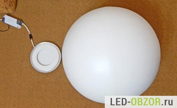 Размеры светильника и сферы, диаметром 40см.