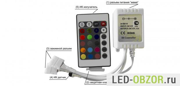 Основные элементы РГБ контроллера с ДУ
