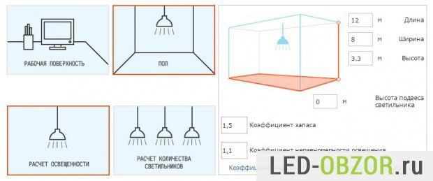 Пример бесплатного сервиса по расчету светодиодного осещения