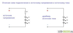 Схемы подключения светодиодов к 220В и 12В